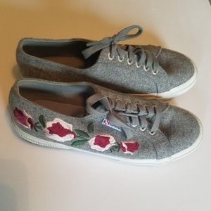 Superga | Gray Embroidery Floral Embwoolw Sneakers